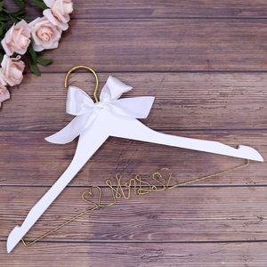 Mrs Wedding Dress Hanger White Gold